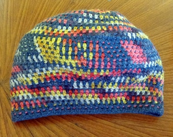 Hippie Crochet Multi-colored Tam Hipster Slouch Hat Cap Small Cotton