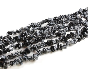 125 beads natural snowflake Obsidian Chips approximately 5-10mm LBP00131