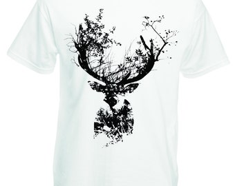 Deer tshirt, stag t shirt, deer with antlers tee. Whimsical nature forest tees for men in black and white Gift for animal lover mountain man