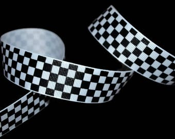 Race Car Ribbon, Car Racing Ribbon, Checker Flag Ribbon, Checkerboard Ribbon, Checker Board Ribbon, Finish Flag Ribbon, Black White Ribbon