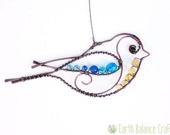 Blue Tit Hanging Decoration, Birdwatcher Gifts, British Garden Birds, Bird Lovers, Wire Work Bird, Gifts for Gardeners, For Nature Lovers