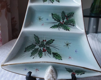 Norecrest Christmas Bell Divided Candy Dish, Serving plate, Made in Japan