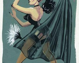 Vampire Pin-up Retro Vampira Kitschy Original Painting
