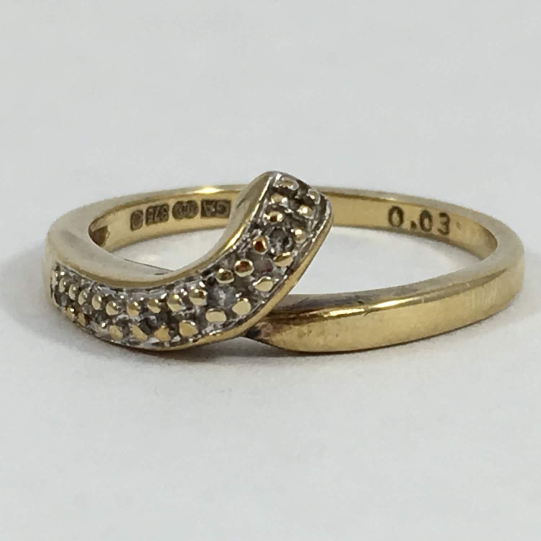Vintage Diamond Wishbone Band. 9K Yellow Gold Setting. Unique ...