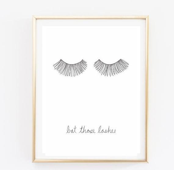 Bat Those Lashes Makeup Print Typographic Print Quote Art