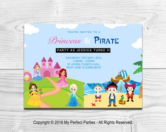 DIGITAL DOWNLOAD - Personalised Princess and Pirate Children's Birthday Party Invitations - PRINTABLE