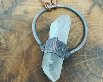Raw clear quartz crystal copper electroformed pendant on long antique copper chain