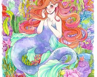 Coral Reef Mermaid Art Print