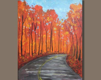 landscape painting, fall colors, orange and blue, autumn trees, tree painting, small art, mini painting, Canada, vertical, gift, road