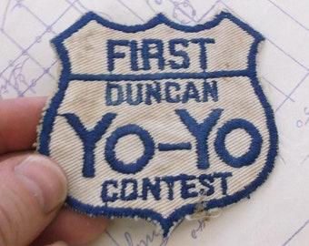 Vintage Duncan Yo-Yo Yoyo Contest Patch // First Blue White // Original Embroidered