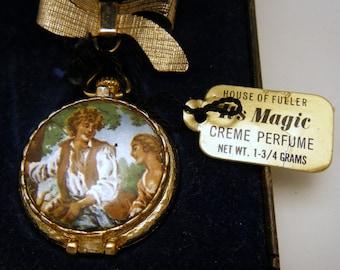Enamel Lavalier Dangle Brooch Perfume Locket Original Tag Box Fuller Brush