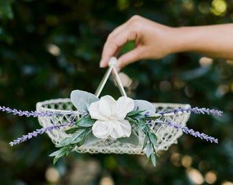 Flower Girl Basket | White Wire Basket | Winter Wedding Basket | Card Basket | Lavender Floral | Floral Alternative | Wedding Basket