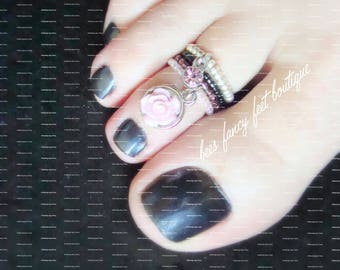 Purple Rose Charm Toe Ring, Pink Crystal Charm Toe Ring, Silver Toe Ring, Black Bead Toe Ring, Pink Bead Toe Ring, Stacking Rings