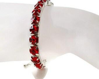 Swarovski Crystal Rhinestone Bracelet - Crystal Bracelet - Rhinestone Bracelet - Garnet Bracelet - Link Bracelet - Red Bracelet