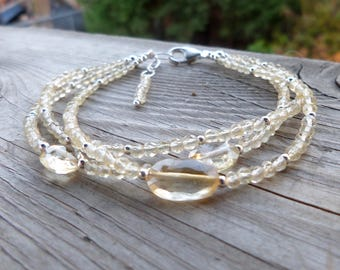 Natural Faceted Citrine and Sterling Silver Birthstone Gemstone Triple Strand Bracelet