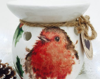 Handmade Wax Oil Burner Christmas Robin