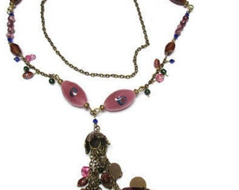 Lampwork glass  long necklace / Glass bead necklace / Long necklace / Boho necklace / Gypsy necklace / Mauve necklace / Beaded necklace /