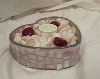 Pink Heart Mosaic Candle Holder