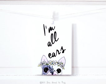All Ears Frenchie Card - Beautiful French Bulldog Card - Floral Card - Dog Card - Frenchie Thank You Card