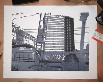 Original Hand Printed Limited Edition Linocut Print - Stratford
