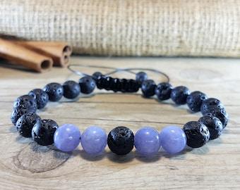 Volcanic rock, Aquamarine Bracelet, Mala Bracelet, Women Mala Bracelet, Beaded Bracelet, Men Mala Bracelet, Energy Bracelet, Strength