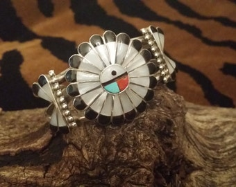 Vintage Zuni Native American signed Cuff Bracelet With Inlaid Mother of Pearl, Black Onyx, Coral and Turquoise