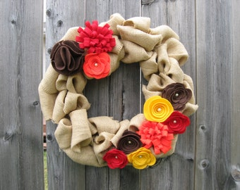 Fall Wreath, Burlap Wreath, Door Wreath, Felt Flower Wreath