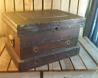 Antique Wooden Tool Box, Wooden Machinist Box