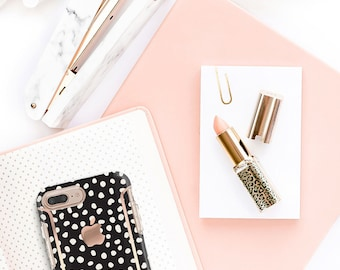 iPhone 8 Case iPhone 8 Plus Case iPhone X Black and Dots and Rose Gold Case Otterbox Symmetry        PopSocket & WizGear Optional