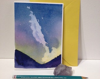 5x7 Blank Greeting Card, Stationary, Milky Way Art, Constellation, Watercolor Card, Northern Lights, Hand Written, Snail Mail, Birthday Card