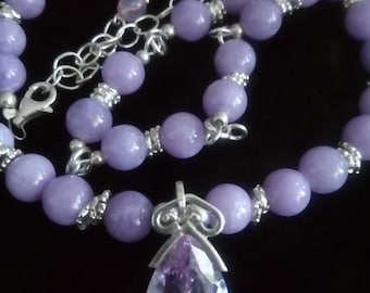 Sweet Lilac Statement Necklace & Matching Bracelet- Sterling Silver, Jadeite, Cubic Zirconia