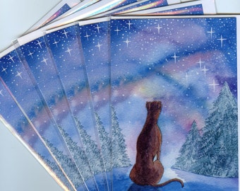 6 x Whippet Greyhound lurcher dog Christmas holiday cards - starry, starry night looking to the heavens