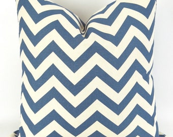 Throw Pillow Cover, Denim Blue Zigzag, Accent Pillow, Euro Sham, Cushion Cover -MANY SIZES- Chevron blue off-white/ecru, Premier Prints