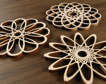 Hardwood Graphic Coasters- The Loops Series