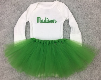 Personalized newborn outfit with tutu - preemie girl tutu, newborn girl tutu, baby shower gift monogrammed baby, Irish baby St Patrick's Day