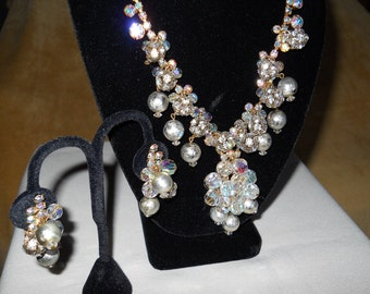 Juliana Necklace and Earring Set, Rhinestones and Crystal Beads, Juliana Book Piece Rare DeLizza & Elster, Vintage