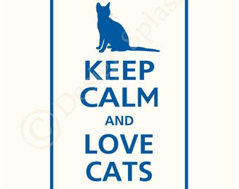 Keep Calm and LOVE CATS Wall Sticker Mural Art Sticker vinyle KC-116