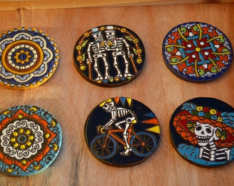 6 Mix Day of the Dead  Coasters