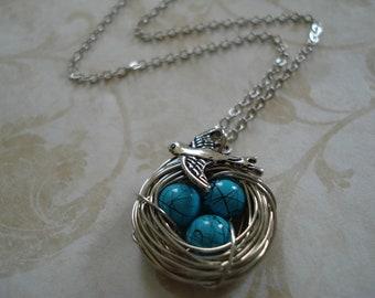 Blue Robin's Egg Bird Nest Necklace