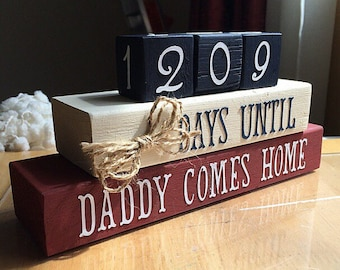 Deployment Countdown Military Deployment Countdown Calendar Wooden Days Until Daddy/ Mommy Comes Home