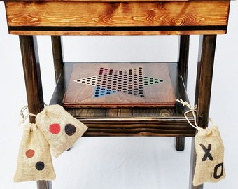 Game Table, Wood Board Games, Backgammon / Checkers / Chinese Checkers / TicTacToe, Indoor Outdoor Yard Furniture, Reclaimed Wood