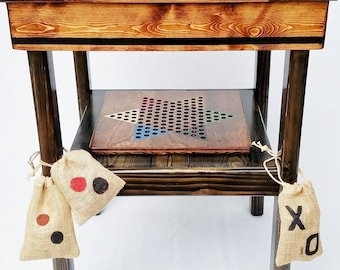 Game Table, Wood Board Games, Backgammon / Checkers / Chinese Checkers /  TicTacToe,