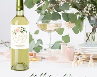 Wine bottle labels template, Printable wine bottle labels, Personalized wine bottle labels for wedding bridal shower, Floral blush pink gold