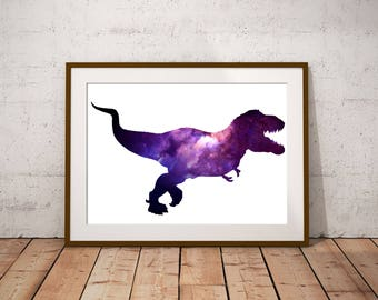 T-Rex Dino Art Print Silhouette Filled With Galaxy Nebula Space Dinosaur, Home Decor, Kids Bedroom Art, Tyrannosaurus Rex Jurassic Park