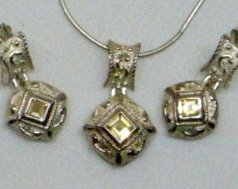 Vintage Citrine Sterling Necklace And Earrings - Versace Inspired - Italy - Byzantine Silver Set With Citrines - Sterling Chain - Hallmarked