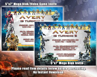 Halo Birthday Invitation, Video Game Xbox Birthday Party Invitation, Mega Blok Invitation - 5x7 Digital Files Only