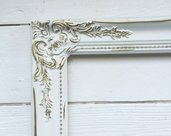 Shabby Chic Frames Wedding Picture Frame Wall Hanging Frame Photo Prop Baroque Ornate Frame White with Gold