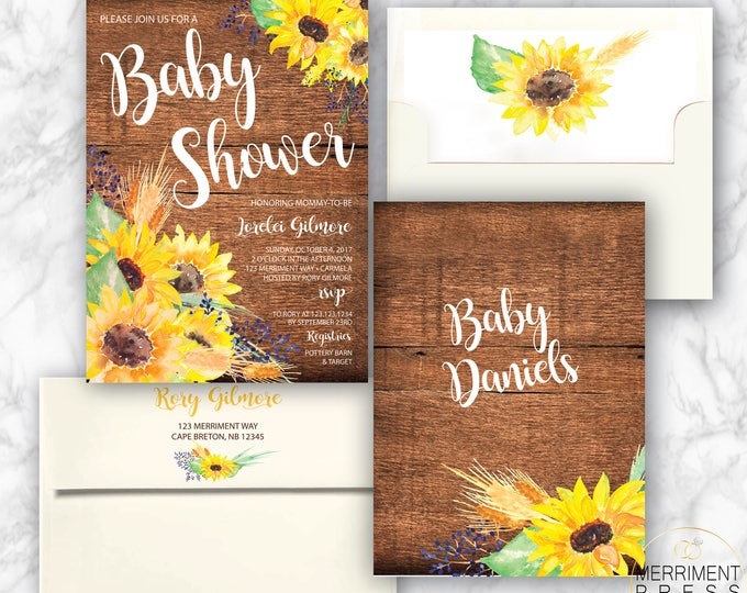 Rustic Sunflower Baby Shower Invitation // Little Sunflower // Fall Baby Shower Invitation // Yellow // Wood // CARMEL COLLECTION