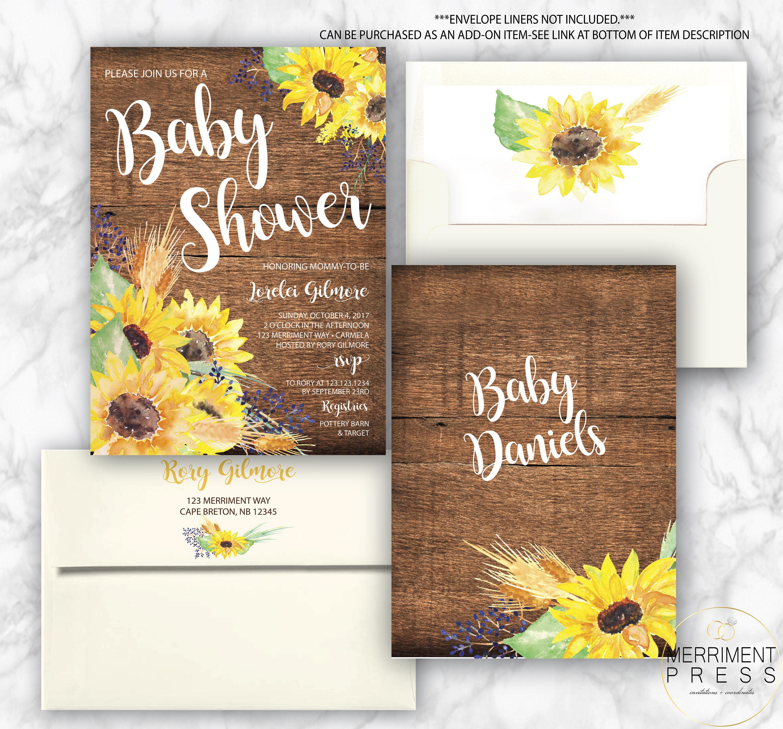Rustic Sunflower Baby Shower Invitation // Little Sunflower // Fall ...