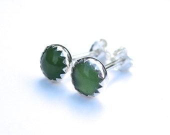 Green Serpentine Stud Earrings, Green Serpentine Earrings